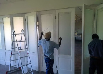 during glazing and painting of folding doors
